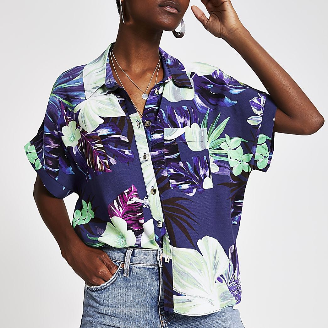 Paars overhemd met bloemenprint en korte mouwen