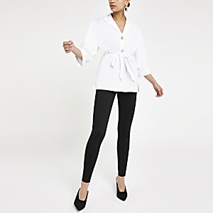 White tie waist shirt