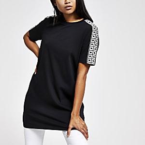 Petite black diamante trim jumbo T-shirt