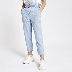 RI Petite - Lichtblauwe jeans met geplooide taille