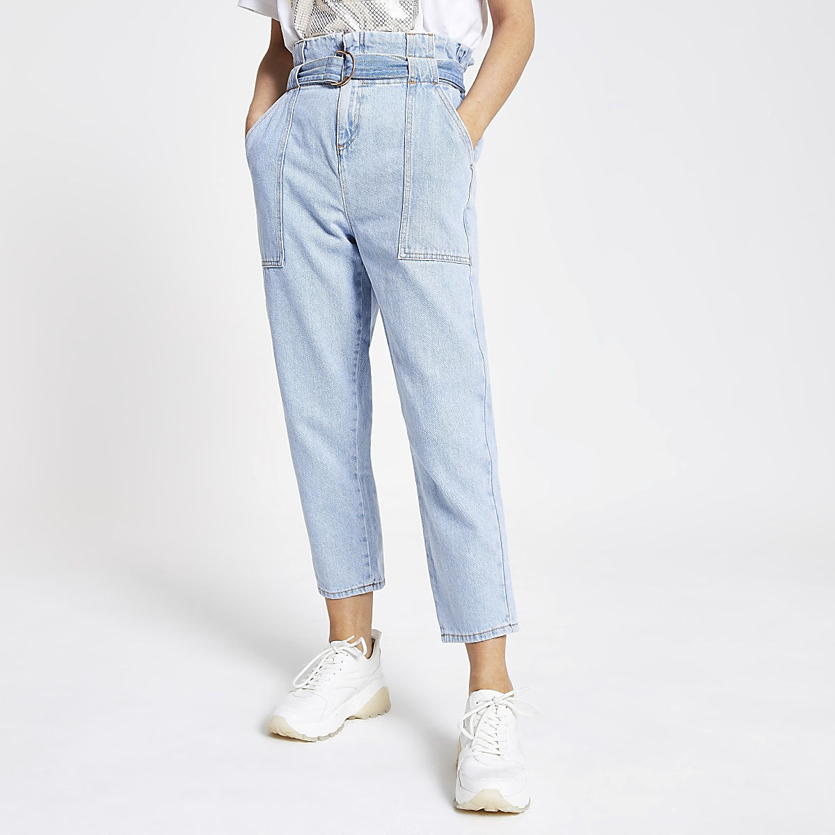 Petite light blue paperbag jeans