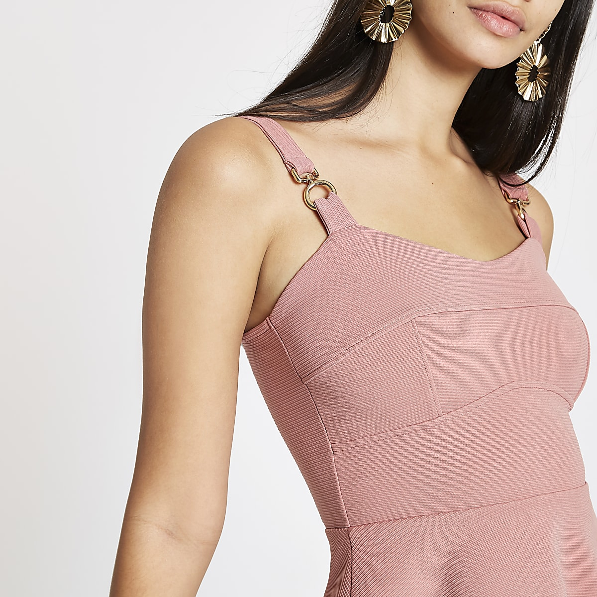 Pink fitted peplum top