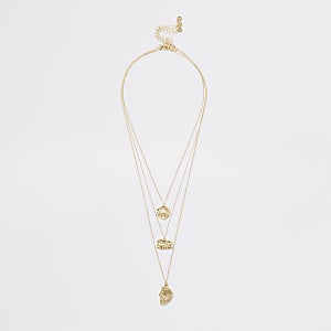 Gold colour textured layered necklace