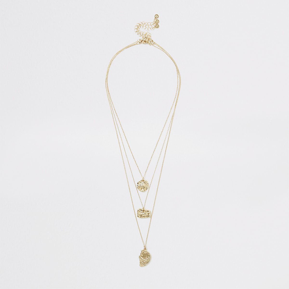 Gold color textured layered necklace