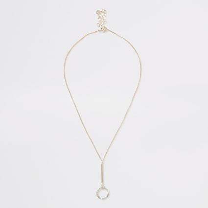 Rose gold colour diamante pave ring necklace
