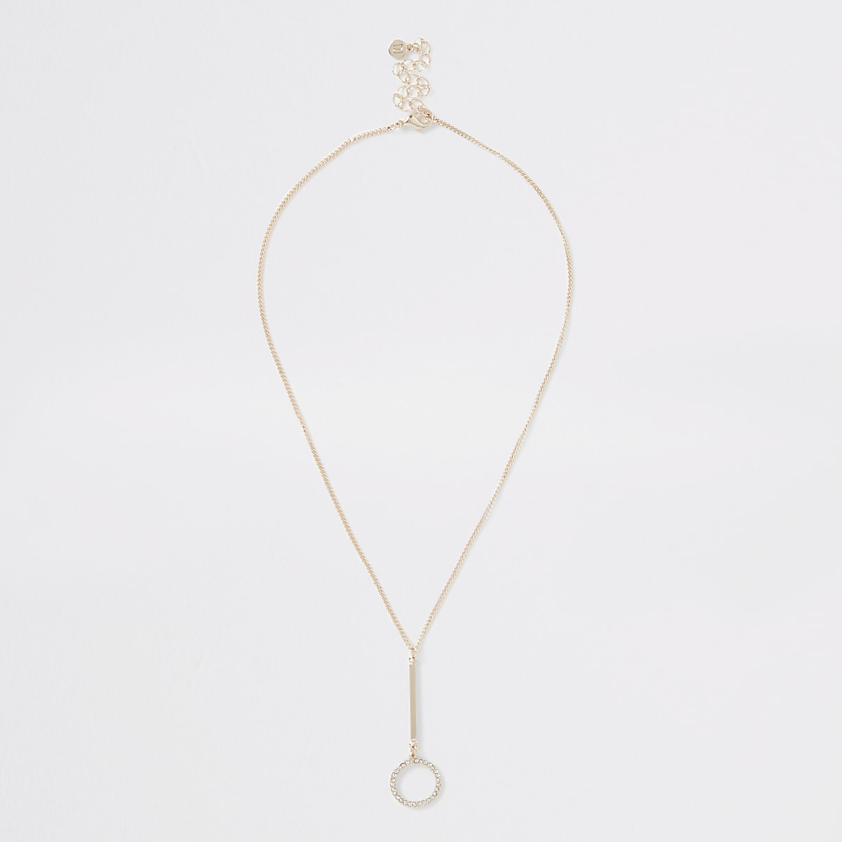 Rose gold diamante pave ring necklace