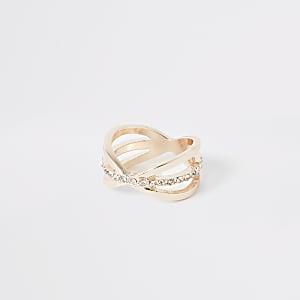 Rose gold diamante pave ring