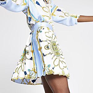 Mini-jupe imprimée bleu clair plissée