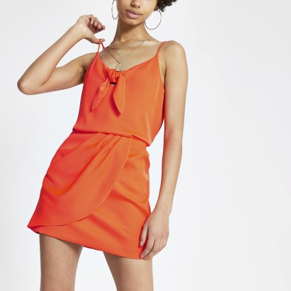 Coral wrap mini skirt