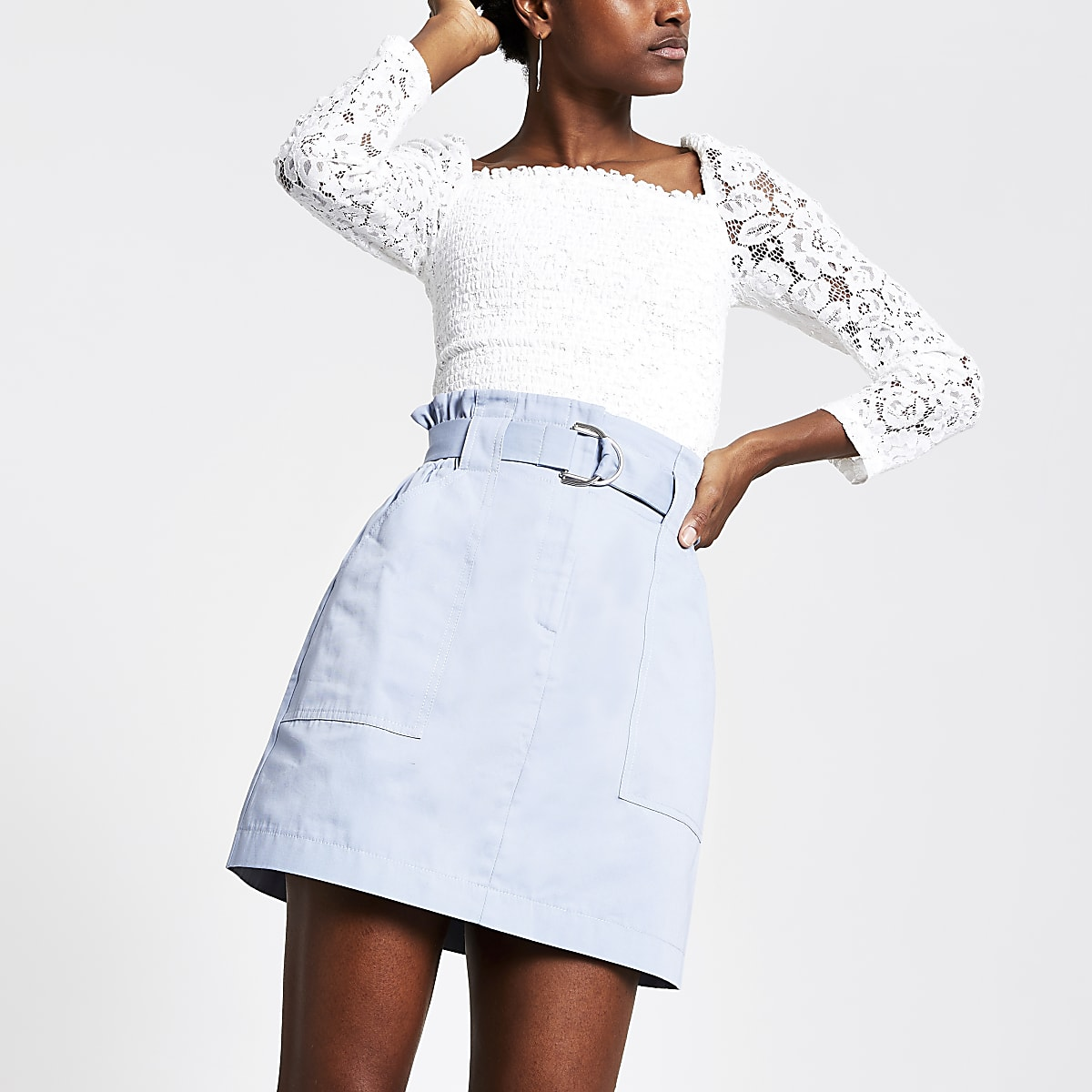 Blue belted utility mini skirt