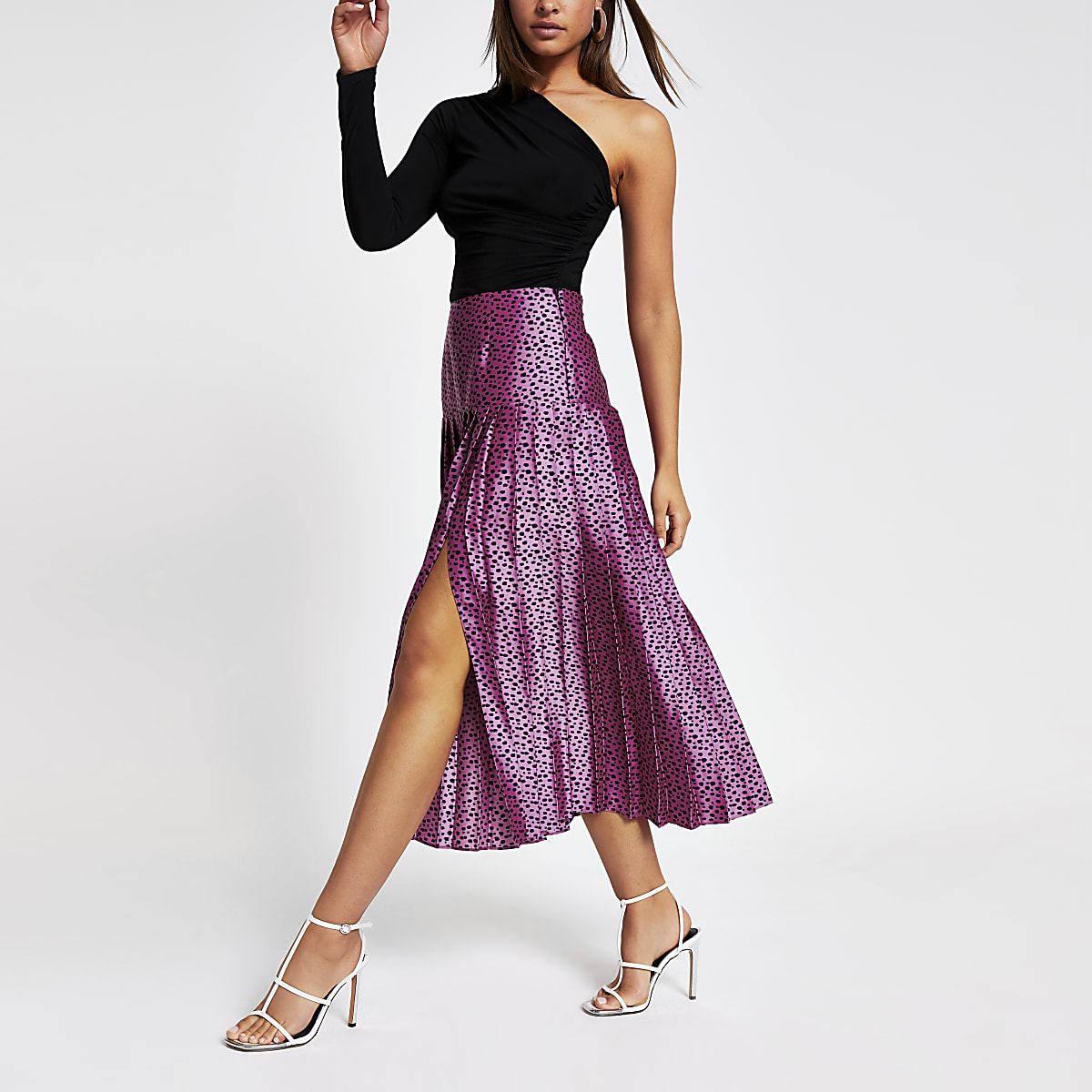 Pink spot print pleated skirt