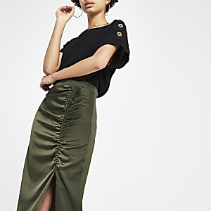 Khaki ruched side split midi skirt