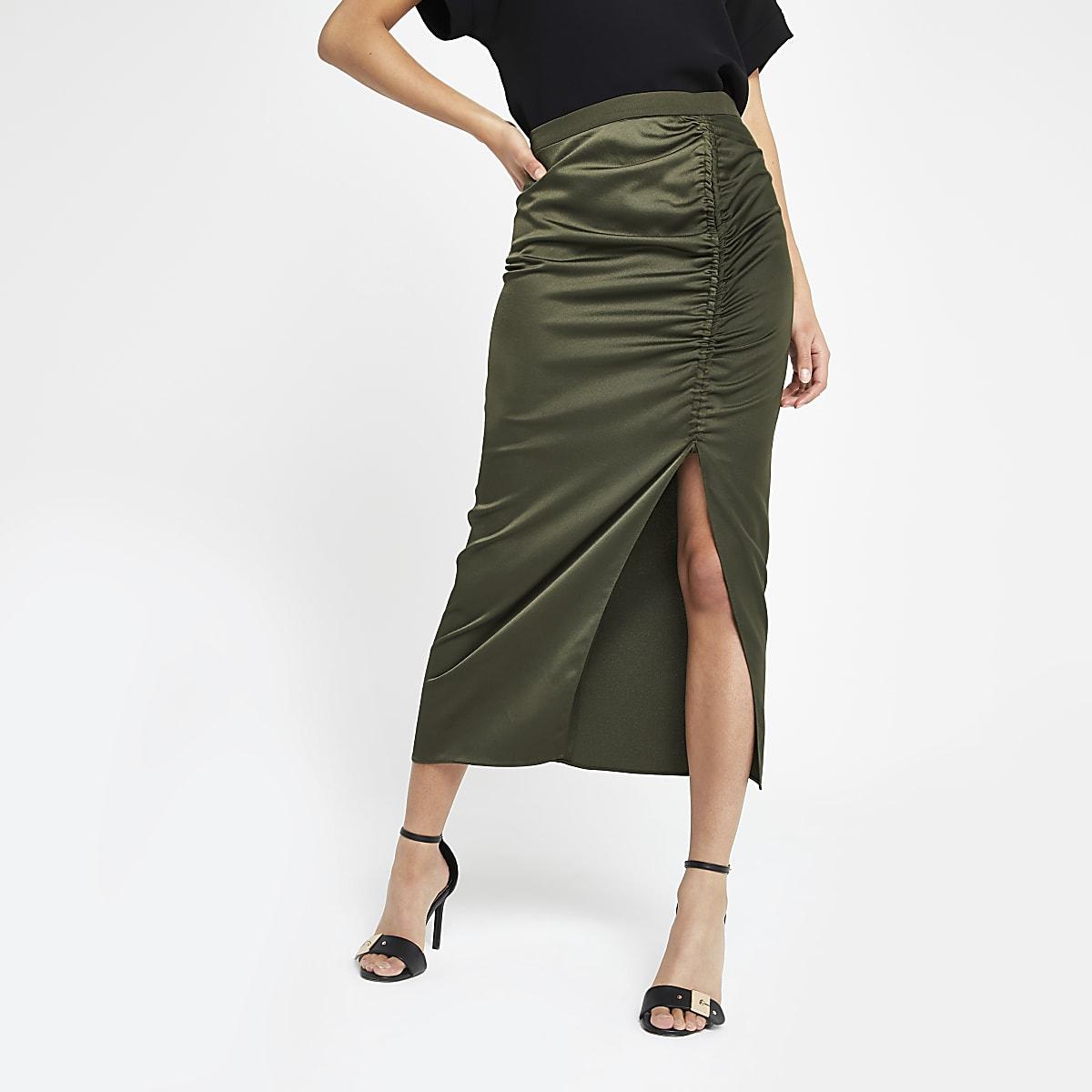 677f7ee36 Khaki ruched side split midi skirt - Midi Skirts - Skirts - women