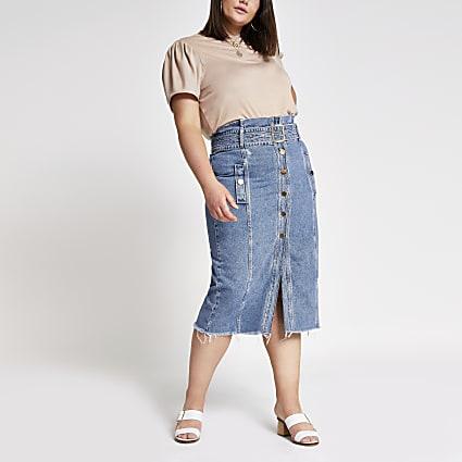 Plus mid blue denim pencil midi skirt