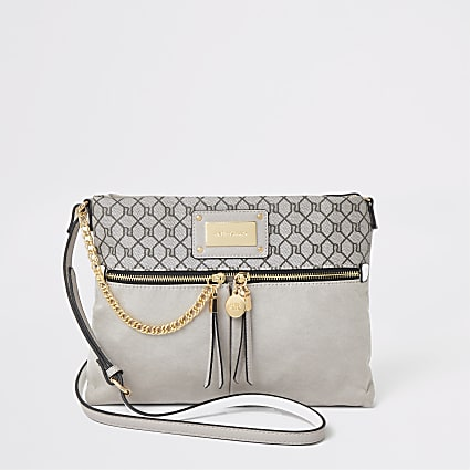 Light grey RI monogram messenger cross bag