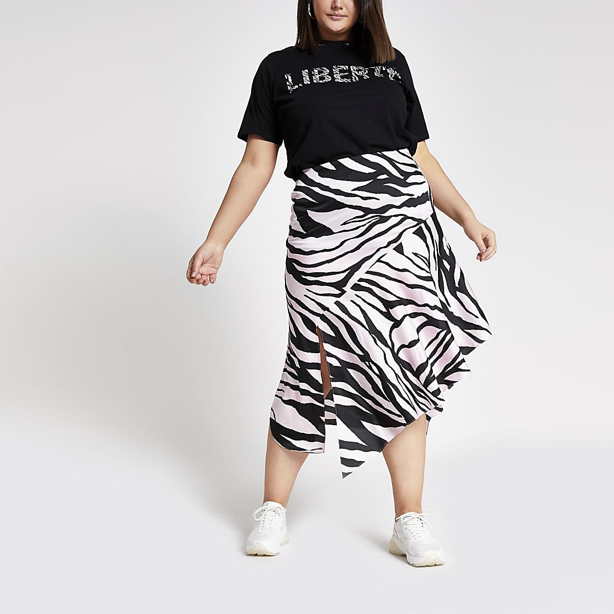 60a876505 Plus pink zebra print asymmetric midi skirt - Midi Skirts - Skirts ...