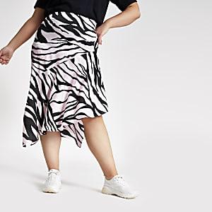 Plus – Jupe mi-longue asymétrique rose à imprimé zèbre
