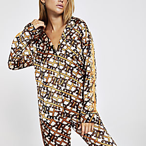 Brown RI print satin pyjama shirt