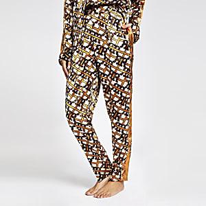 Pantalon de pyjama en satin imprimé RI marron