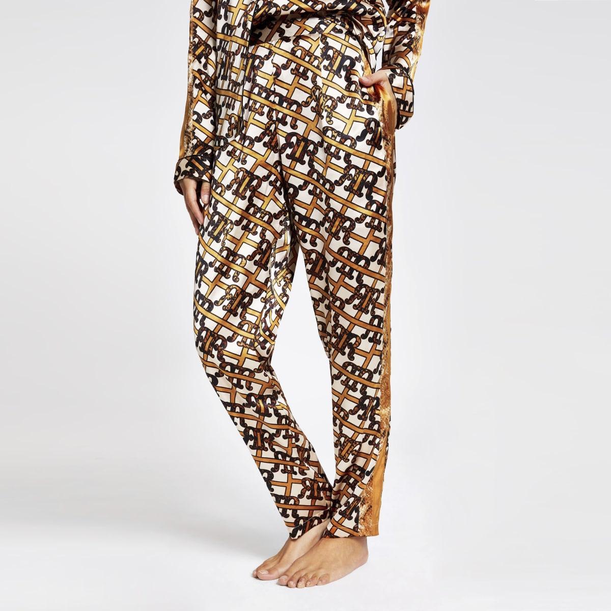 Brown RI print satin pyjama trouser