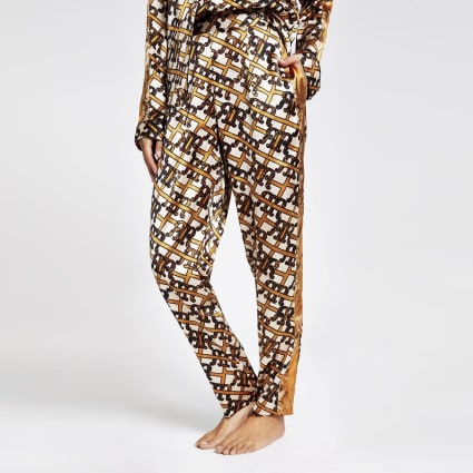 Brown RI print satin pyjama trouser