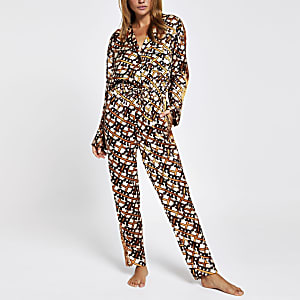 Combinaison pyjama en satin imprimé RI marron