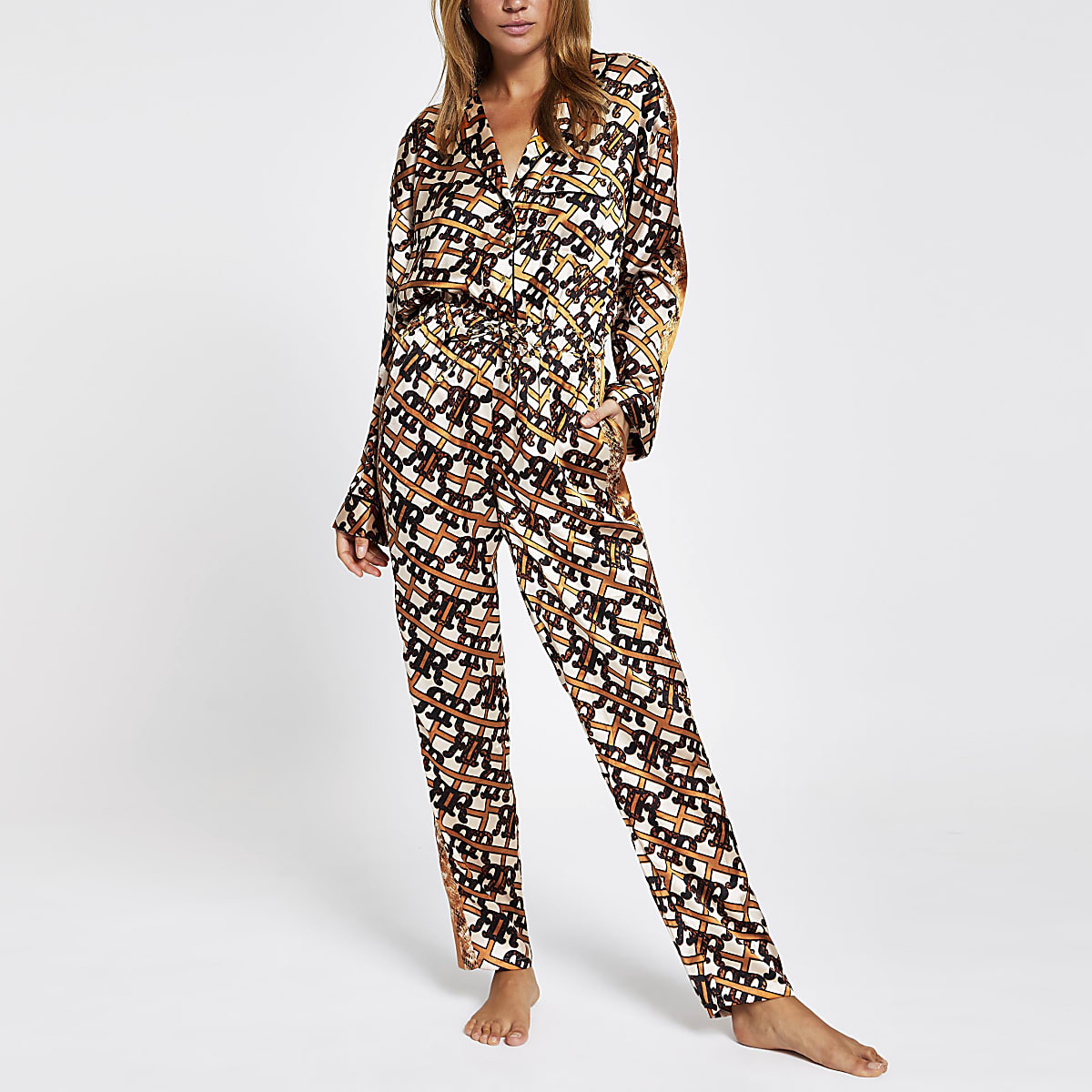 Brown RI print satin pyjama jumpsuit