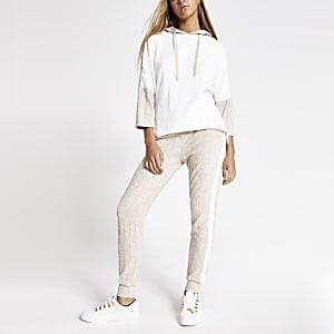 Crème geribbelde joggingbroek