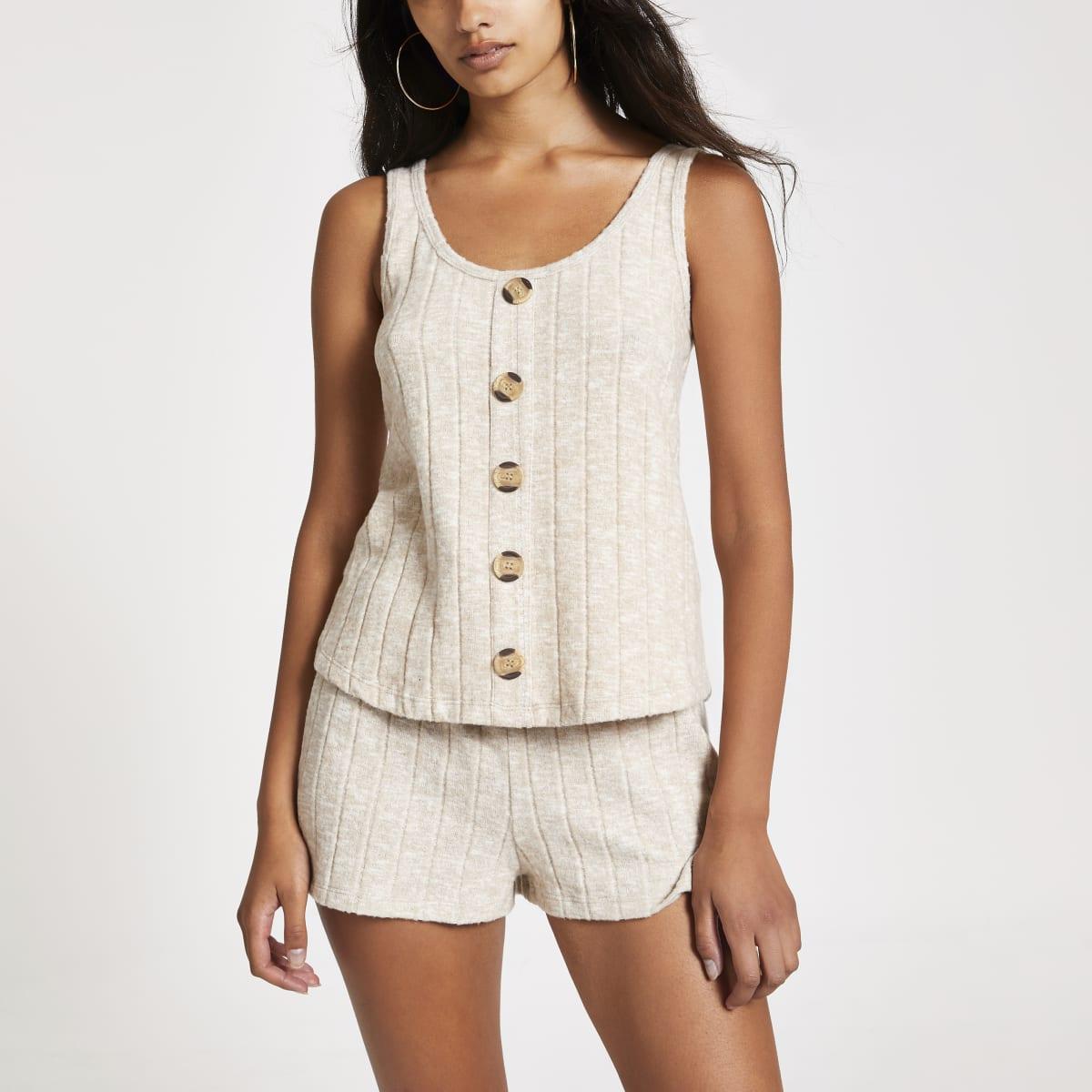 Crème geribbelde cami pyjamatop