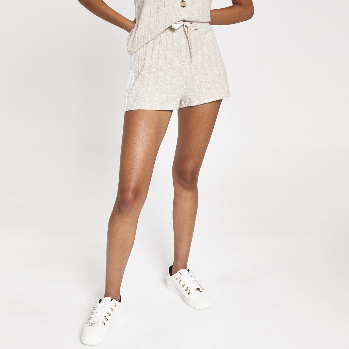 Cream ribbed loose fit shorts