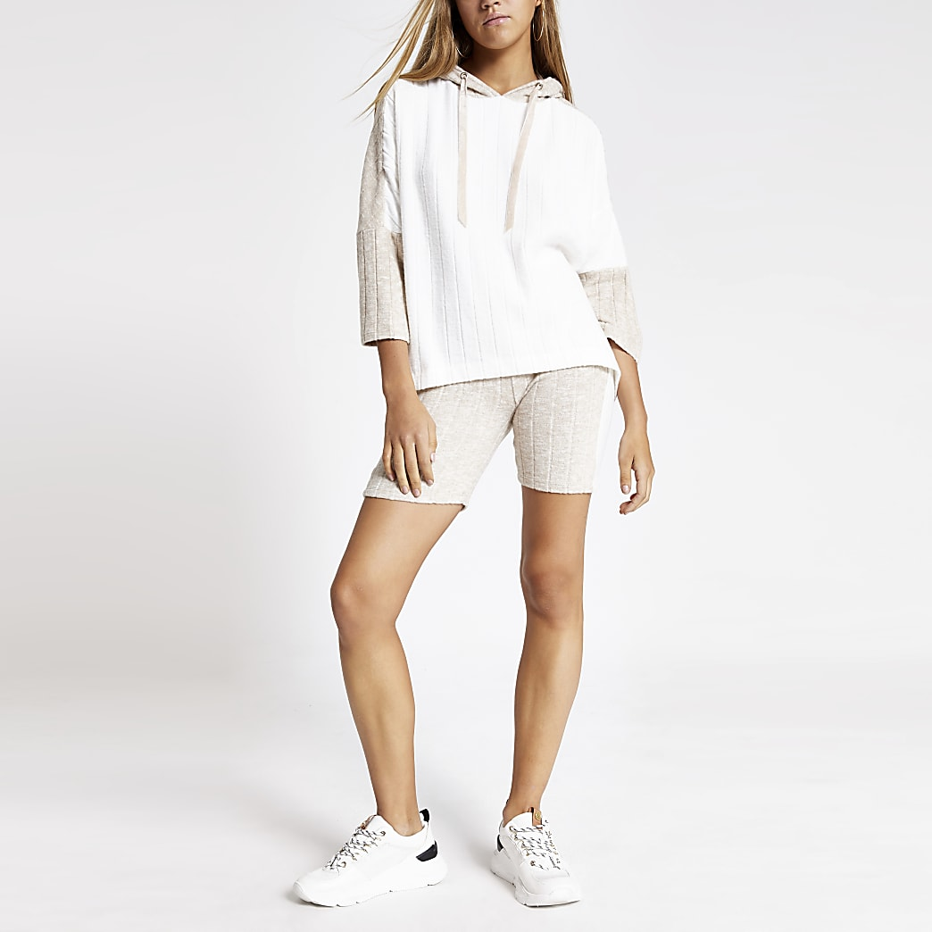 Cream ribbed cycle pyjama shorts