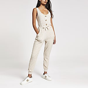 Cream ribbed pyjama jumpsuit