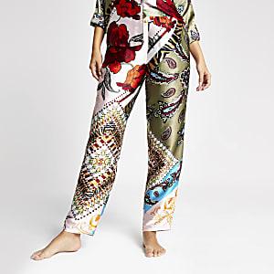 Pantalons de pyjama en satin à imprimé fleuri vert
