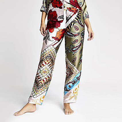 Green floral satin pyjama trousers