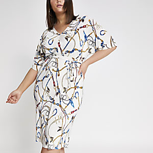 Plus white chain print kimono dress