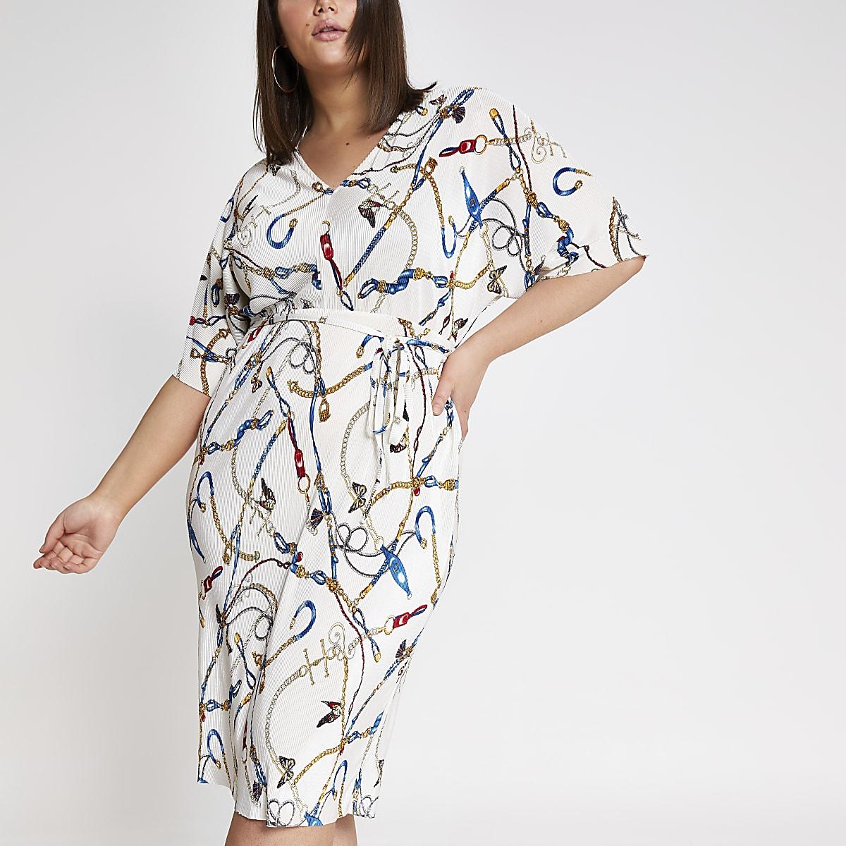 Plus white chain print kimono dress