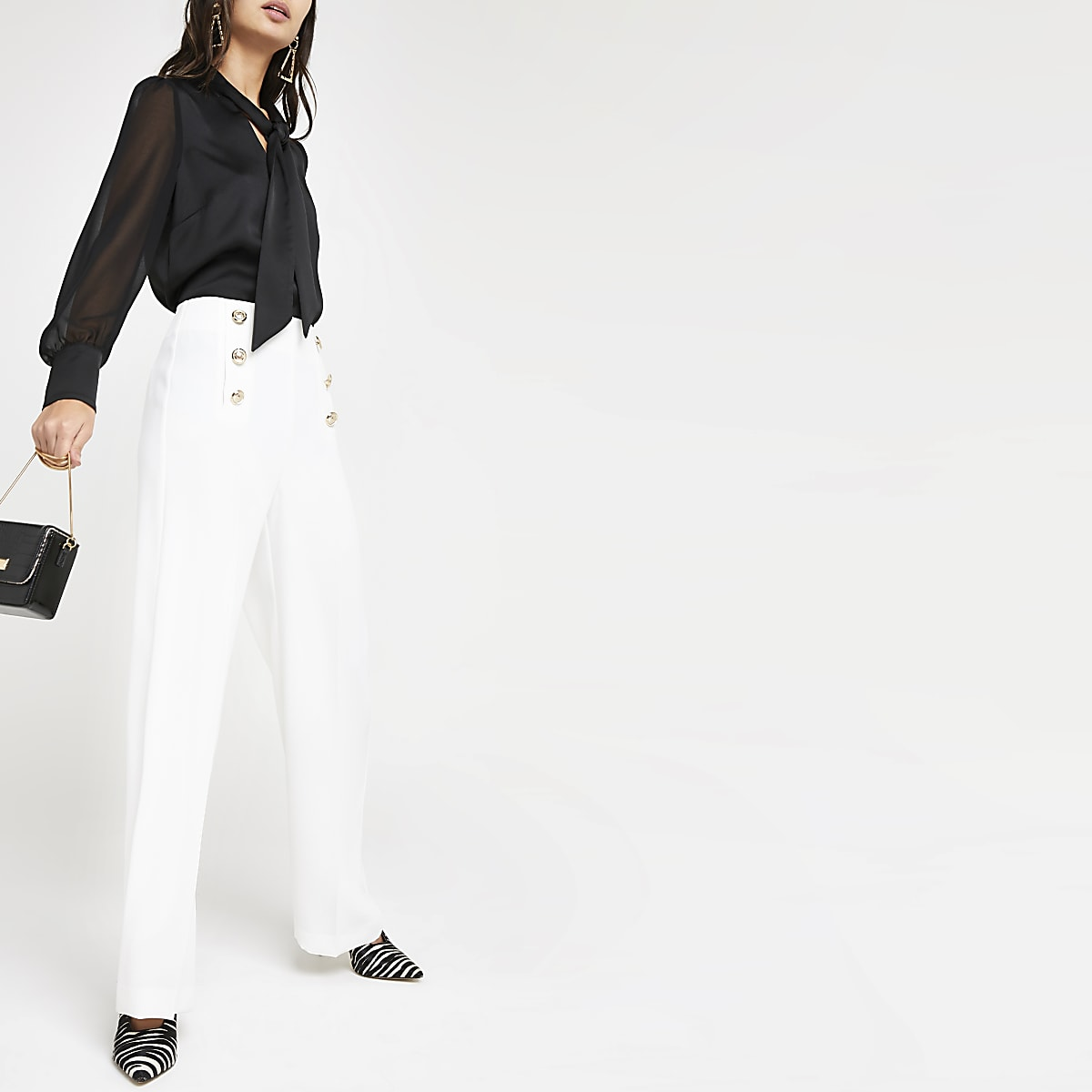 White button front wide leg pants