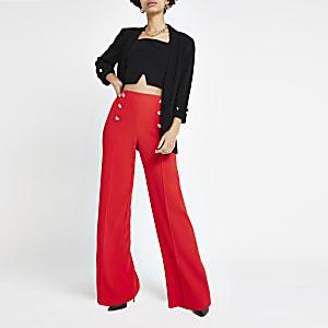 Rode broek met wijde pijpen