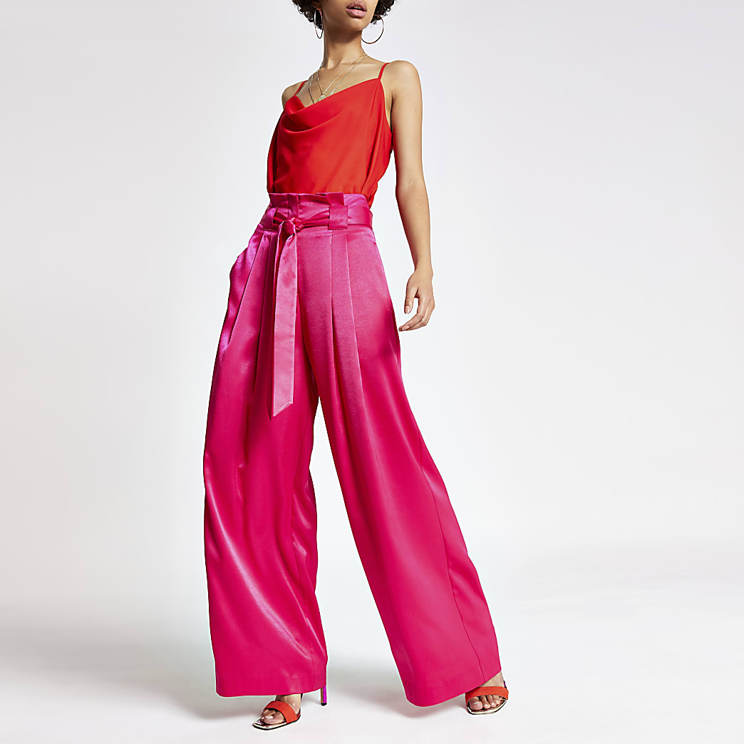 Pantalon large rose vif