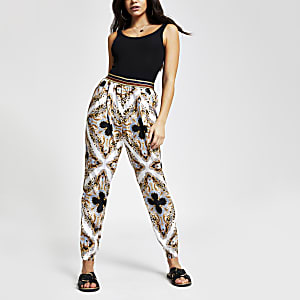 Blue print peg leg trousers
