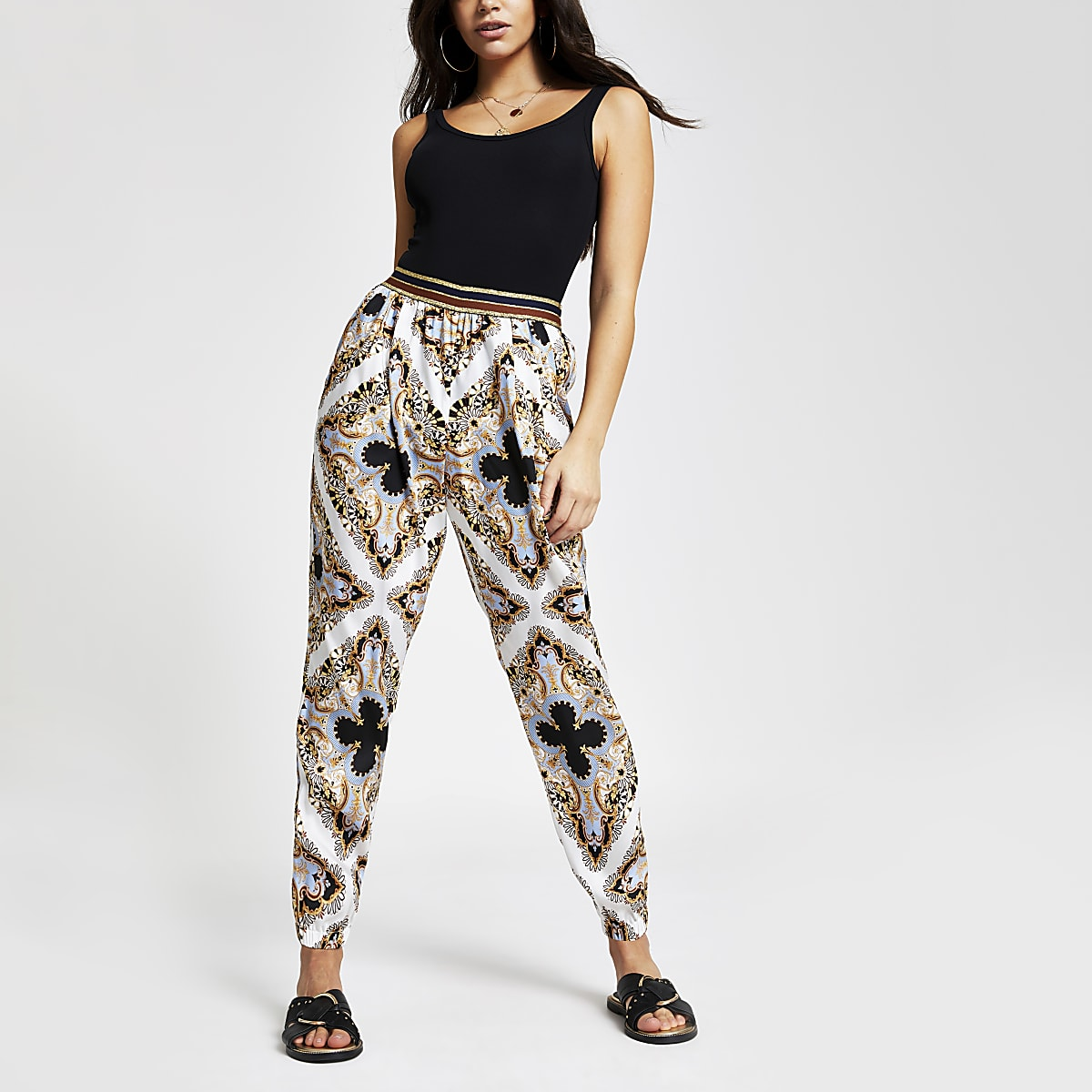 Blue print peg leg pants