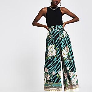 Green printed wide leg trousers