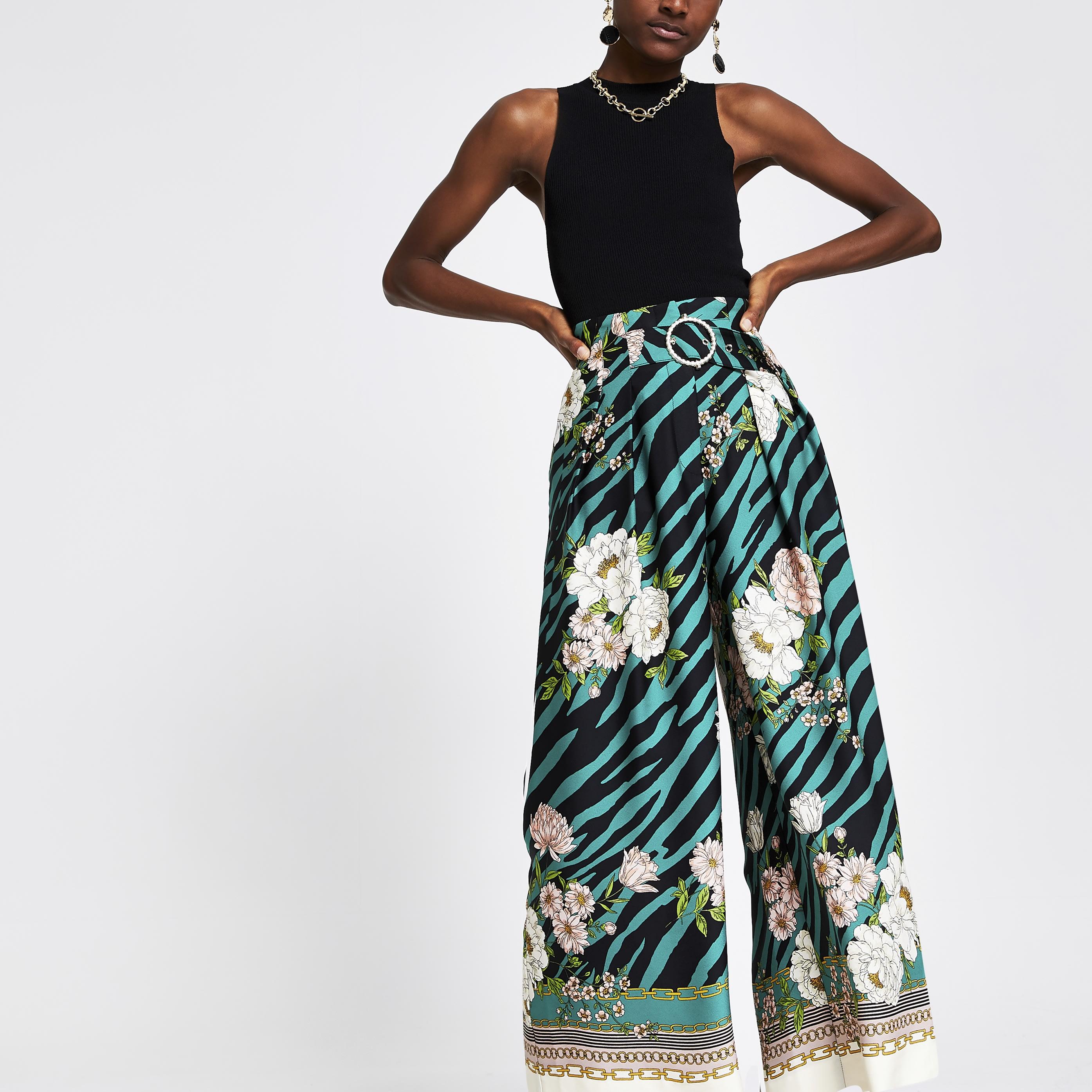 RIVER ISLAND | Womens Green Printed Wide Leg Trousers | Goxip