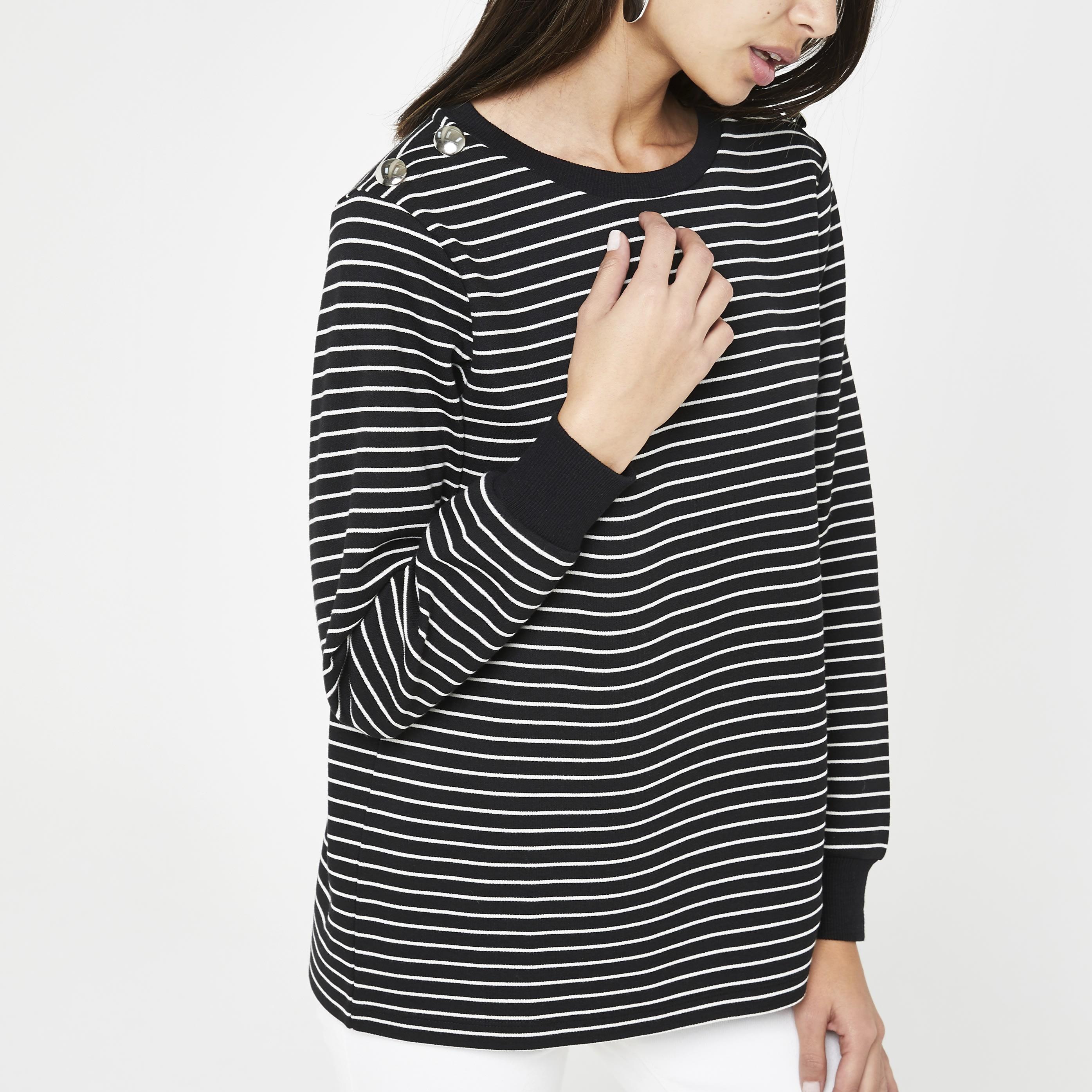 RIVER ISLAND | Womens Black Stripe Sweatshirt | Goxip