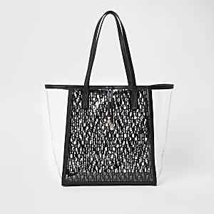 White RI monogram perspex shopper beach bag