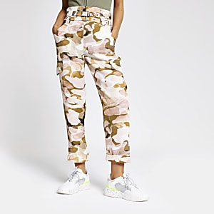 Pink camo print utility cargo pants