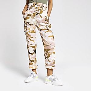 Pantalon cargo imprimé camouflage rose fonctionnel