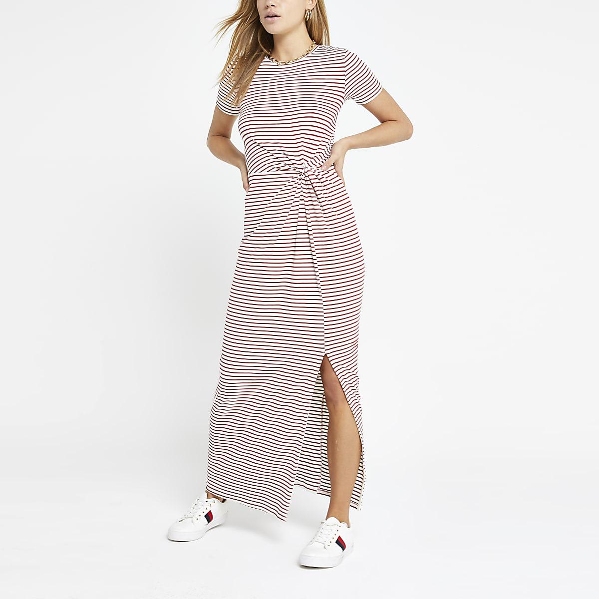 Red stripe twist front maxi dress