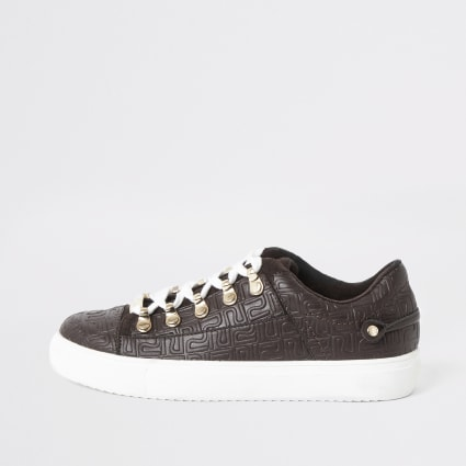 Brown RI embossed lace-up trainers