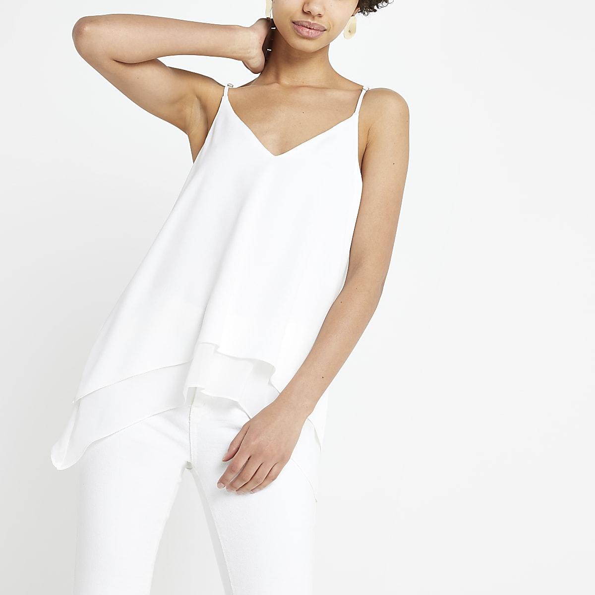 White layered hem cami top